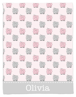 Blanket- Pink and Gray Elephants