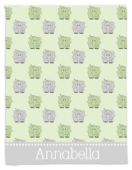 Blanket- Green and Gray Elephants