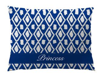 Dog Bed-Ikat Blue