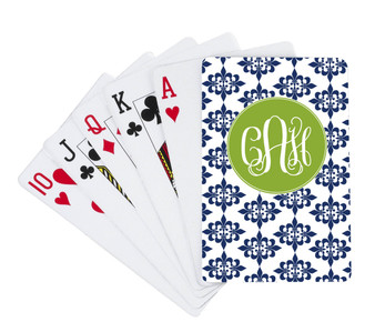 Playing Cards-Navy Damask