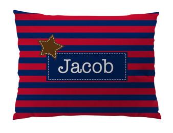 Floor Pillow- Navy Red Stripe