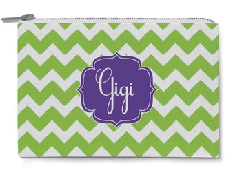 Accessory Zip Pouch- Lime Green Chevron