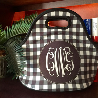 Lunch Tote- Black Gingham