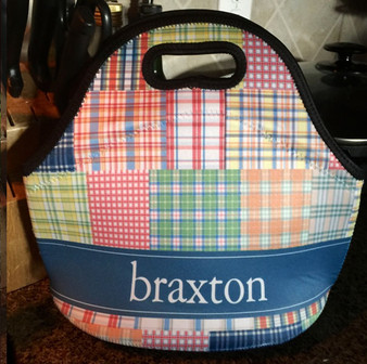Lunch Tote- Madras Plaid Boy