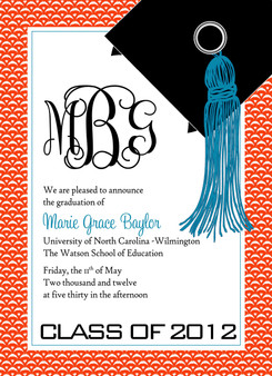 Invitation-Monogram Wave Graduate