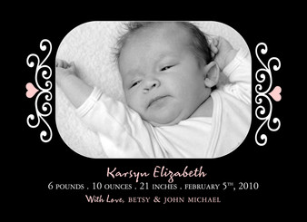 Invitation-Baby Announcement Pink Hearts