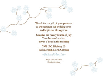 Invitation- White Cherry Blossoms