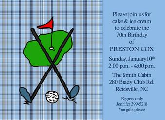 Invitation-Carolina Blue Golf Plaid