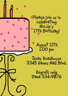 Invitation-Nicole Birthday Cake