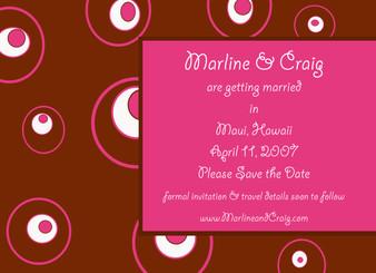Invitation-Circles Dots Hot Pink and Chocolate