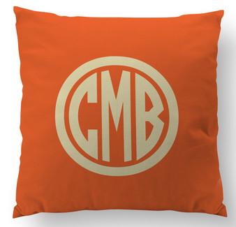 Pillows- Orange Circle Monogram