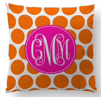 Pillow-Orange Polka Dot