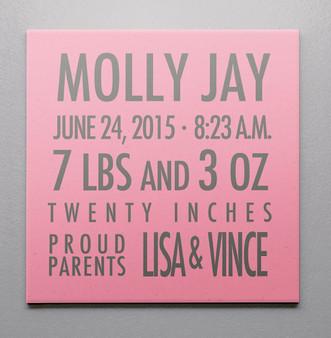 Birth Canvas- Statatics Pink and Gray