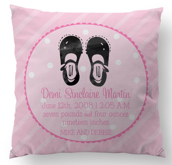 Pillow-Birth Announcement Mary Janes