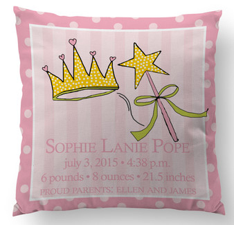 Pillow-Birth Announcement-Princess and Tiara