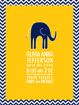 Baby Announcement Blanket- Navy Elephant Chevron