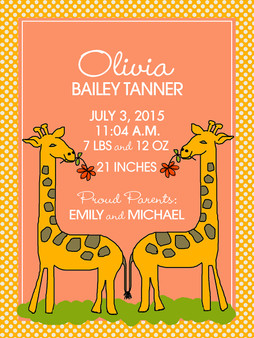 Baby Announcement Blanket- Sunny Giraffes