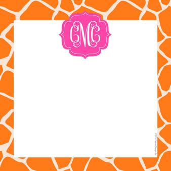 Scribble Square-Pink and Orange Giraffe