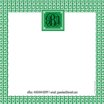Scribble Square-Grass Green Greek Key