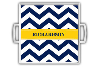 Cocktail Tray - White Navy Chevron