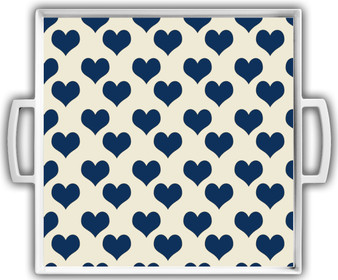 Cocktail Tray - Navy Ivory Hearts