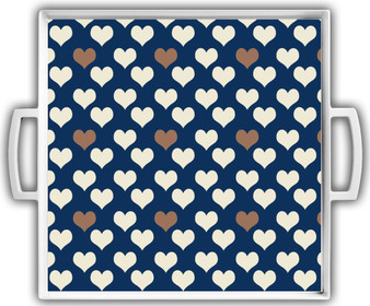 Cocktail Tray - Navy Ivory Gold Hearts Reversed