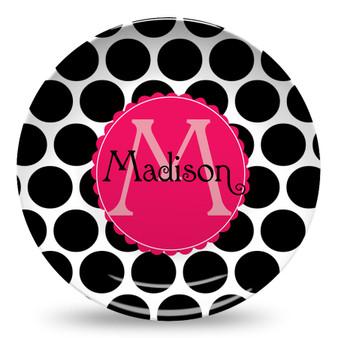Microwave Safe Dinnerware Plate-BW Jumbo Dots