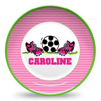 Microwave Safe Dinnerware Plate-Pink Soccer Girl