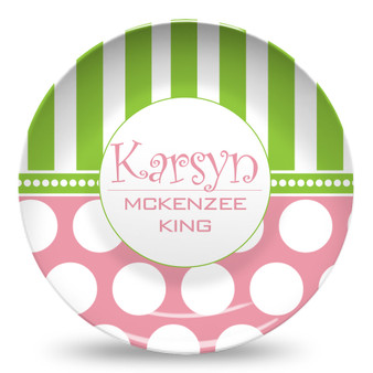 Microwave Safe Dinnerware Plate-Polka Dots Pink and Green-Bowl