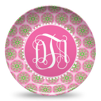 Microwave Safe Dinnerware Plate-Prep Pink and Green Wheels