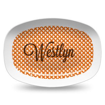 Microwavable Platter- Orange Interlock