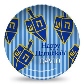 Microwave Safe Dinnerware Plate-Hanukkah Dreidel Stripes