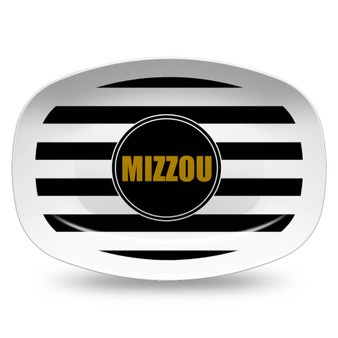 Microwavable Platter- Large Black and White Stripe