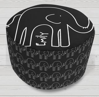 Ottoman-Round-Black Elephants