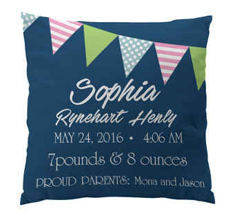 Pillow-Birth Announcement-Banner Girl