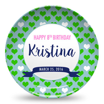 Microwave Safe Dinnerware Plate-Birthday Blue and Green Hearts