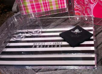 Acrylic Tray-Black and Ivory Stripes