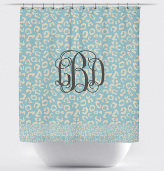 Shower Curtain- Sea Blue and Gray Leopard