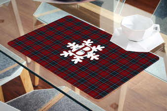 Placemat- Monogram Snowflake Red plaid