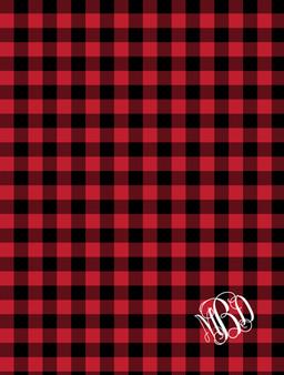 Blanket- Buffalo Plaid Red Monogram
