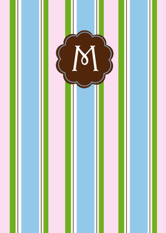 Folded Notes- Pink Blue Chocolate Stripes