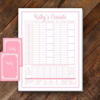 Canasta Pad Gift Set- Kathy-Baby Pink