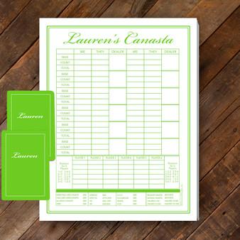 Canasta Pad Gift Set- Lauren- Lime Green