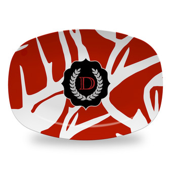 Microwavable Platter - Abstract Deer Red