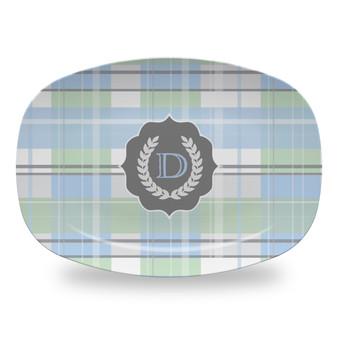 Microwavable Platter - Blue Plaid Seal