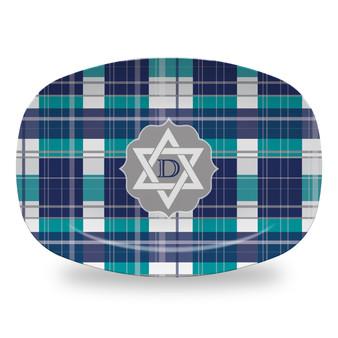 Microwavable Platter - Hanukkah Plaid