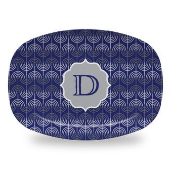 Microwavable Platter - Hanukkah Menorah Blue Small