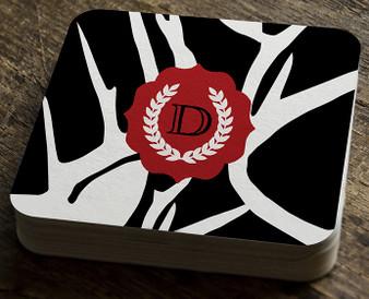 Paper Coaster - Abstract Deer Black