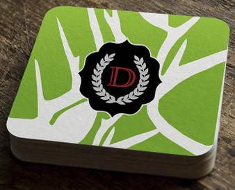 Paper Coaster - Abstract Deer Green
