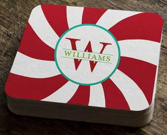 Paper Coaster - Peppermint Red